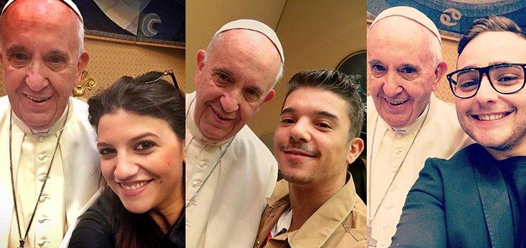 Papa Francesco e il Selfie con Michielin, Rocco Hunt, Deborah Iurato e Moreno