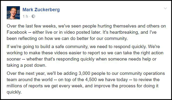 Facebook, stop ai post violenti: Zuckerberg assume 3mila persone