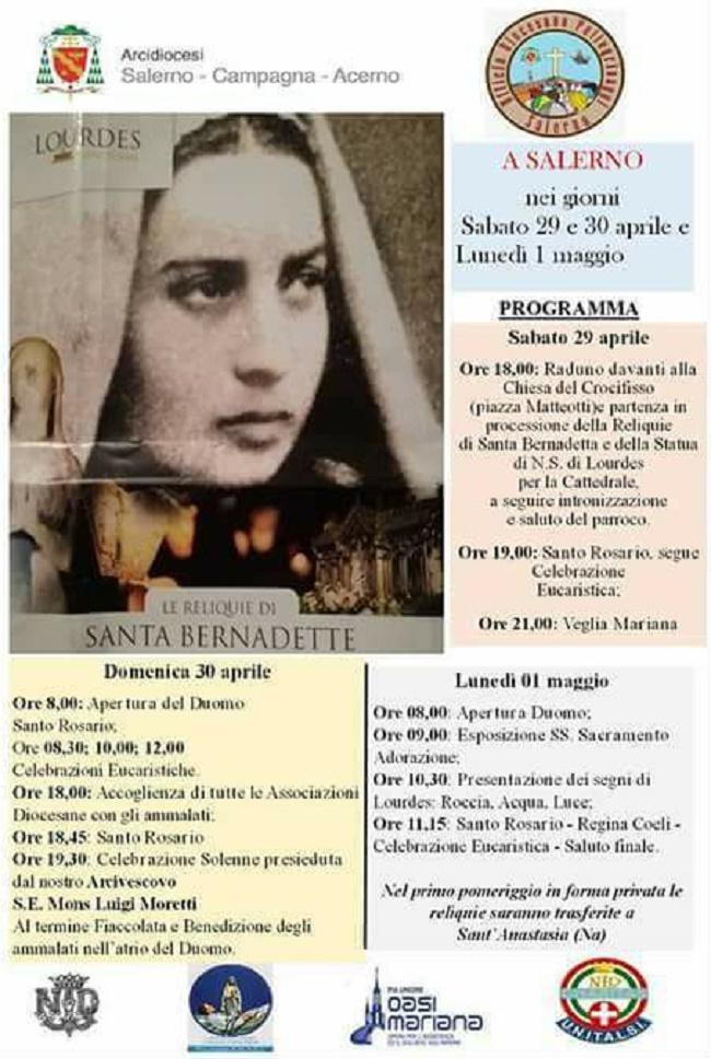 Programma reliquie Santa Bernadette a Salerno