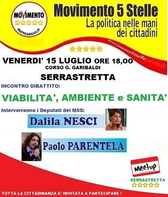 I parlamentari M5s Dalila Nesci e Paolo Parentela il 15 luglio a Serrastretta (Cz)