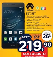 Regali di natale 2016: Huawei P9 Lite a 219.90€, offerta sottocosto Unieuro