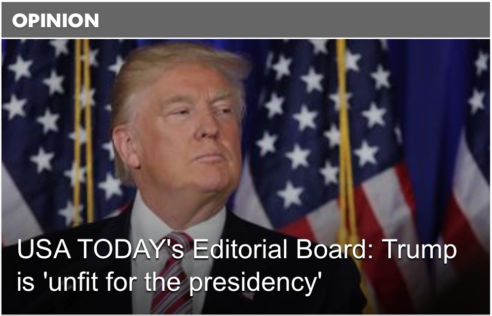 Anche lo USA Today contro Donald Trump