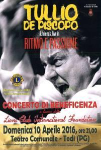 Todi, concerto di beneficenza di Tullio De Piscopo