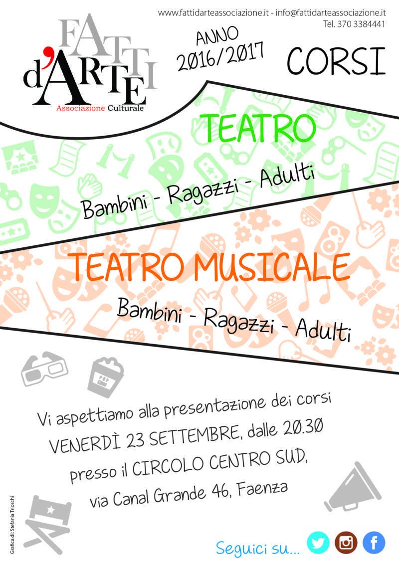 Corsi di Teatro a Castel Bolognese, venerdì 23 settembre la presentazione a Faenza