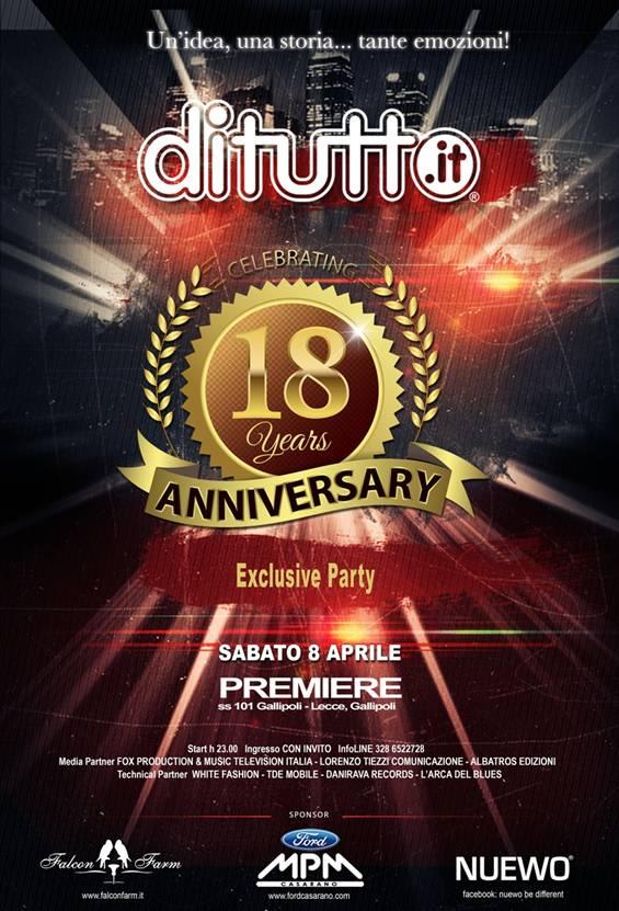 8/4 DiTutto celebra il suo 18esimo anniversario al Premiere Suite di Gallipoli (LE)