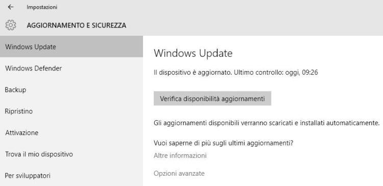Verificare se Windows 10 ha Aggiornamenti da Installare