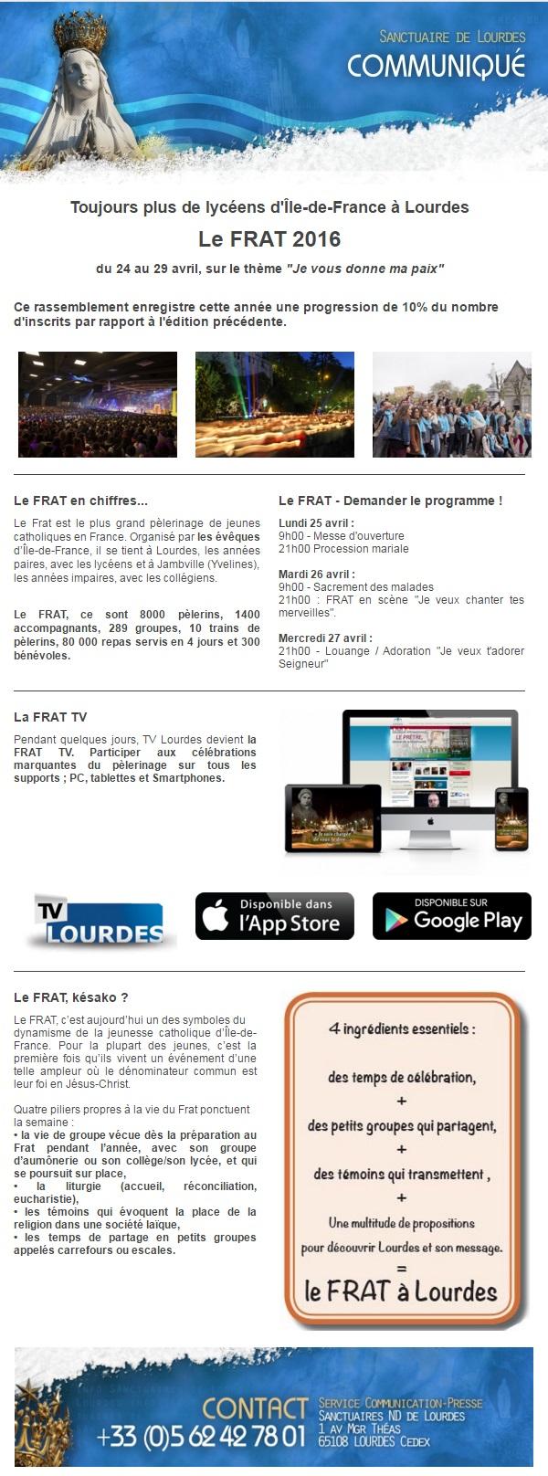 """#Lourdes – Le FRAT 2016 """"Je vous donne ma paix"""""""