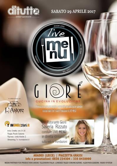 Il Ristorante Giorè ospita Live Menù, il nuovo format DiTutto dedicato al mondo della ristorazione e trasmesso in diretta Tv Streaming
