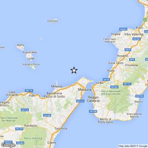 Sicilia, terremoto Ml 2.8 il 25-04-2016 ore 02:10 Costa Siciliana nord orientale
