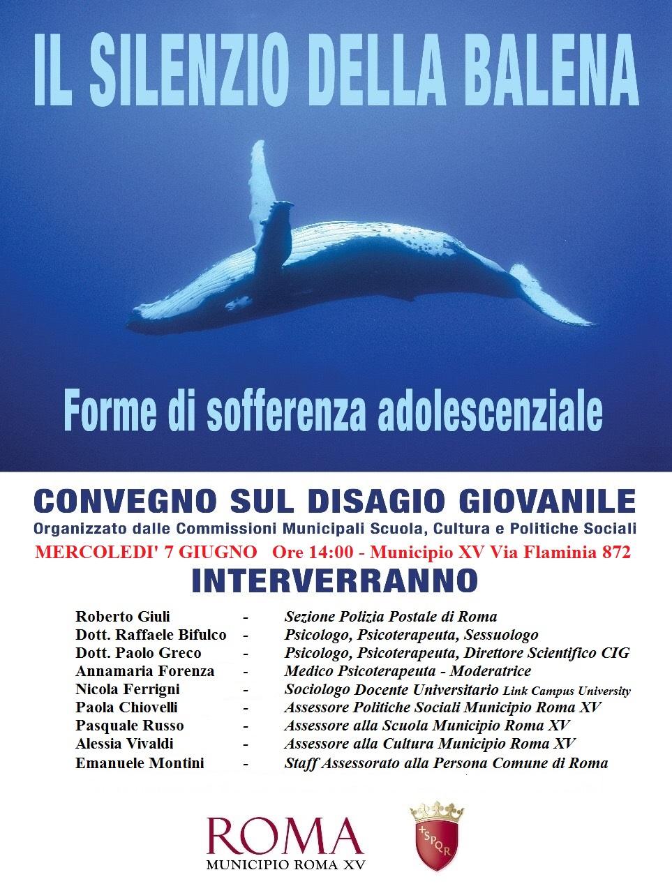 Il silenzio della balena, in XV si parla di disagio giovanile