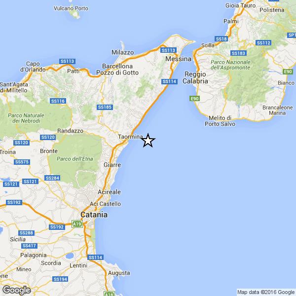 Sicilia, terremoto Ml 2.4 il 23-11-2016 ore 18:25 Stretto di Messina