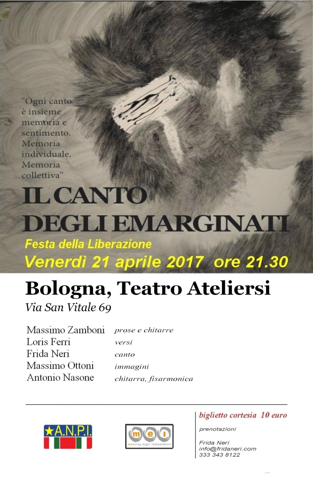 Il 21 aprile a Bologna: Il canto degli emarginati con Loris Ferri, Frida Neri e altri artisti