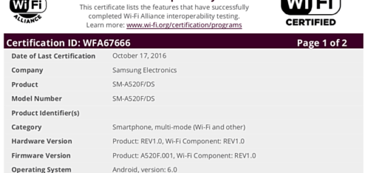 Samsung Galaxy A5 (2017) ottiene la certificazione Wi-Fi