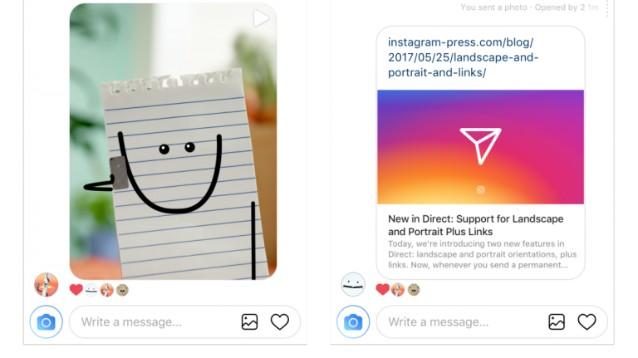 Instagram: su Direct ecco i link con anteprima, e le foto non quadrate